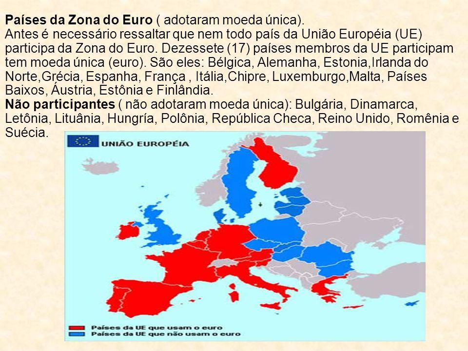 Países da Zona do Euro ( adotaram moeda única).
