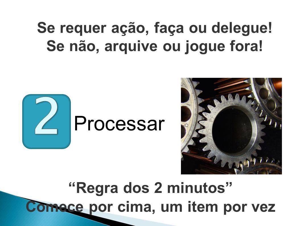 Regra dos 2 minutos Comece por cima, um item por vez Se requer ação, faça ou delegue.