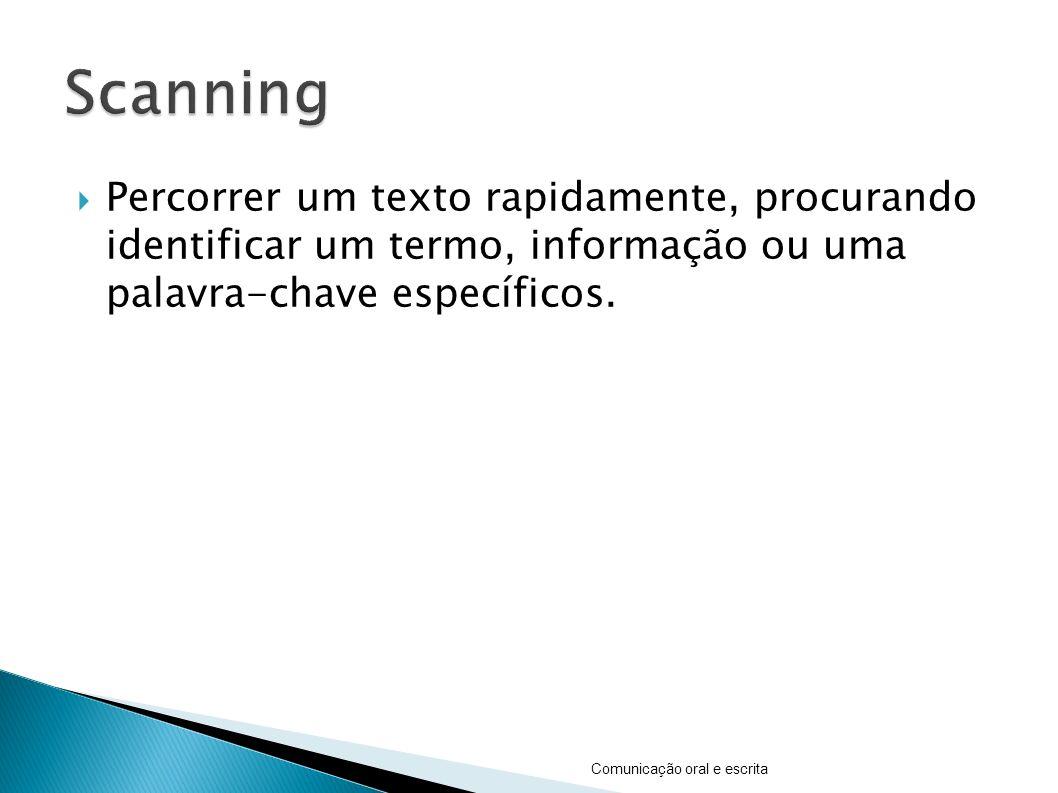 Percorrer um texto rapidamente, procurando identificar um termo, informação ou uma palavra-chave específicos.