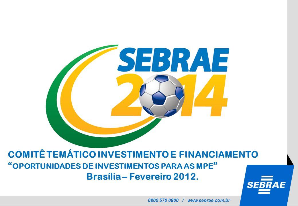 0800 570 0800 / www.sebrae.com.br COMITÊ TEMÁTICO INVESTIMENTO E FINANCIAMENTO OPORTUNIDADES DE INVESTIMENTOS PARA AS MPE Brasília – Fevereiro 2012.