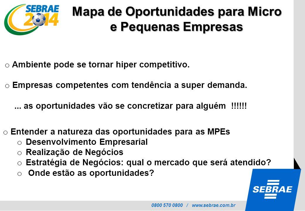 0800 570 0800 / www.sebrae.com.br Mapa de Oportunidades para Micro e Pequenas Empresas o Ambiente pode se tornar hiper competitivo. o Empresas compete
