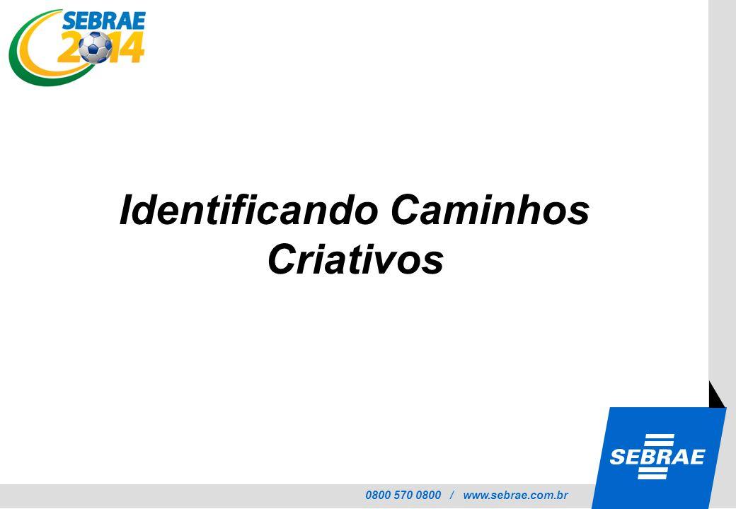 0800 570 0800 / www.sebrae.com.br Identificando Caminhos Criativos