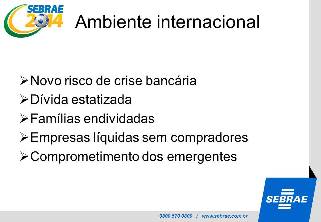 0800 570 0800 / www.sebrae.com.br Ambiente internacional Novo risco de crise bancária Dívida estatizada Famílias endividadas Empresas líquidas sem com