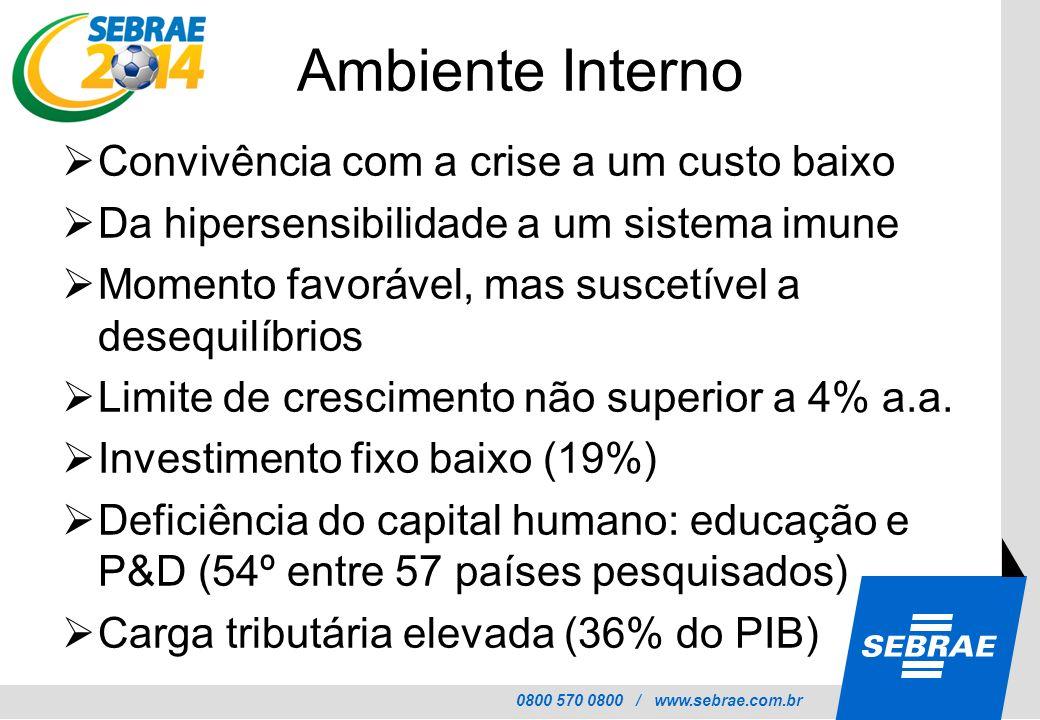0800 570 0800 / www.sebrae.com.br Ambiente Interno Convivência com a crise a um custo baixo Da hipersensibilidade a um sistema imune Momento favorável