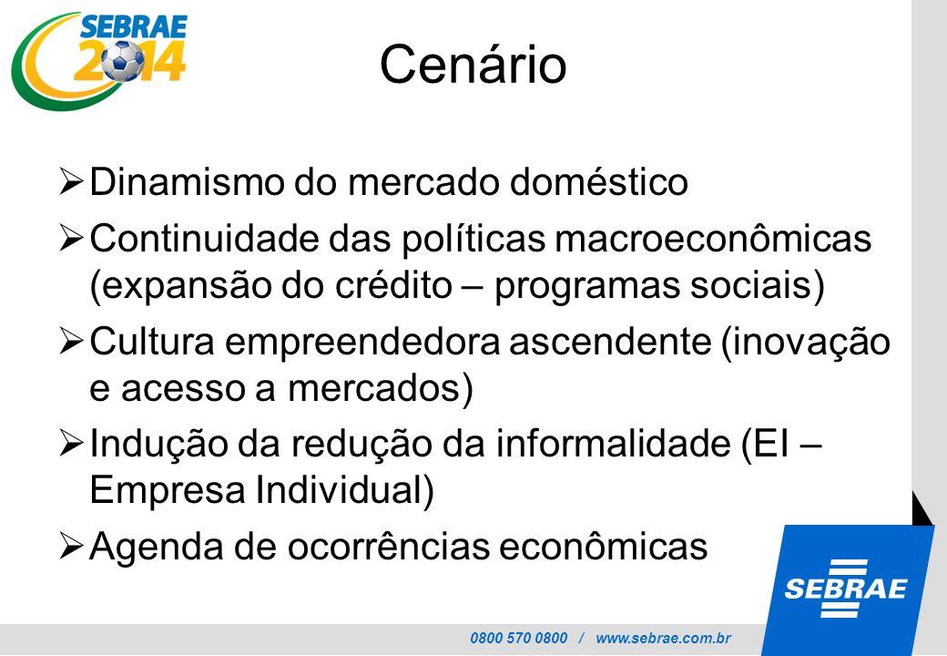 0800 570 0800 / www.sebrae.com.br Cenário Dinamismo do mercado doméstico Continuidade das políticas macroeconômicas (expansão do crédito – programas s