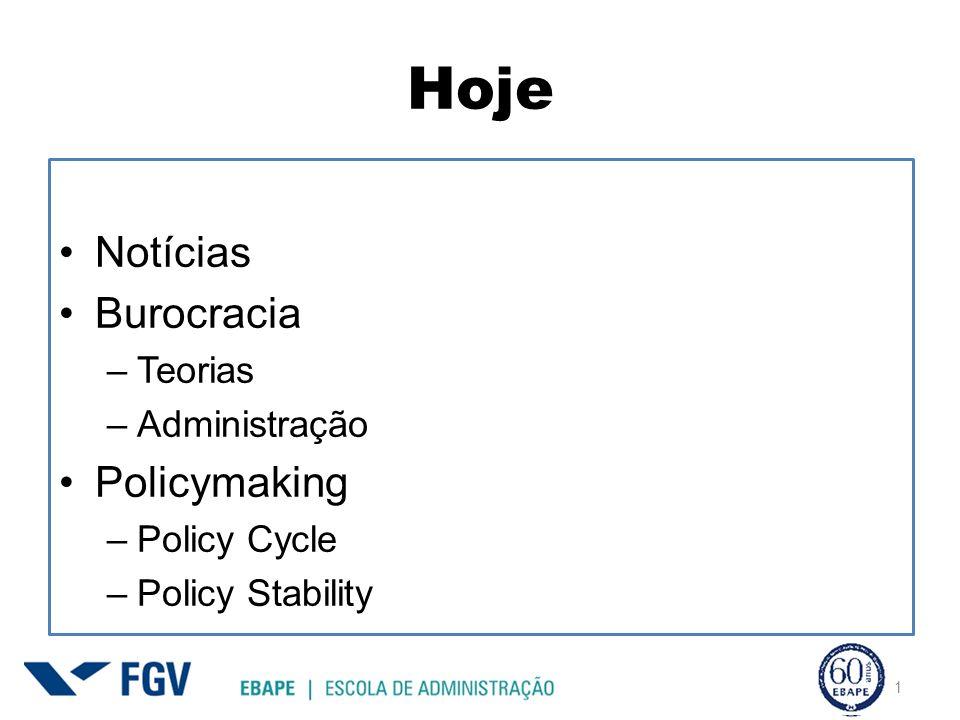Hoje 1 Notícias Burocracia –Teorias –Administração Policymaking –Policy Cycle –Policy Stability