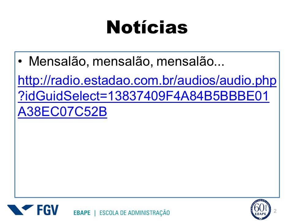 Notícias Mensalão, mensalão, mensalão... http://radio.estadao.com.br/audios/audio.php ?idGuidSelect=13837409F4A84B5BBBE01 A38EC07C52B 2