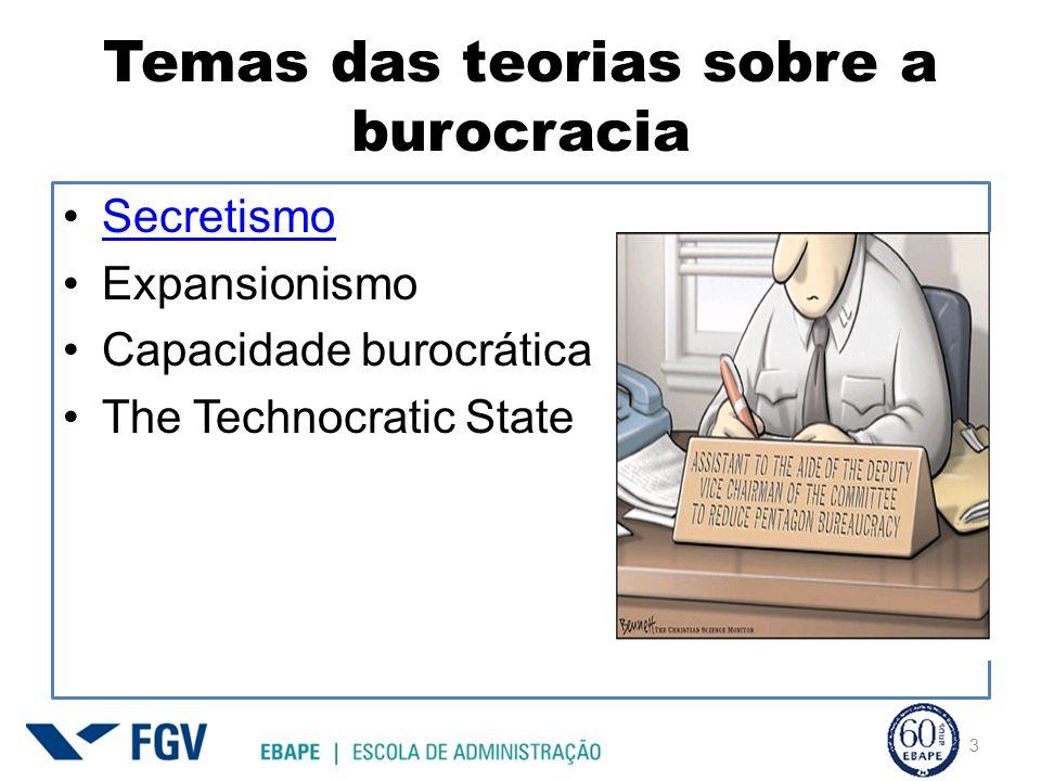 Temas das teorias sobre a burocracia Secretismo Expansionismo Capacidade burocrática The Technocratic State 3