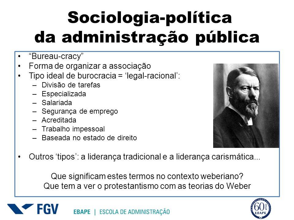 Sociologia-política da administração pública Bureau-cracy Forma de organizar a associação Tipo ideal de burocracia = legal-racional: –Divisão de taref