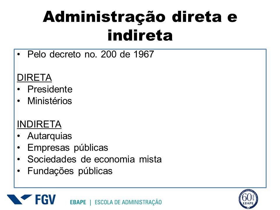 Administração direta e indireta Pelo decreto no. 200 de 1967 DIRETA Presidente Ministérios INDIRETA Autarquias Empresas públicas Sociedades de economi