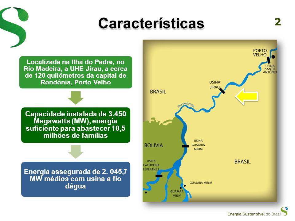 2 CaracterísticasCaracterísticas Localizada na Ilha do Padre, no Rio Madeira, a UHE Jirau, a cerca de 120 quilômetros da capital de Rondônia, Porto Velho Capacidade instalada de 3.450 Megawatts (MW), energia suficiente para abastecer 10,5 milhões de famílias Energia assegurada de 2.