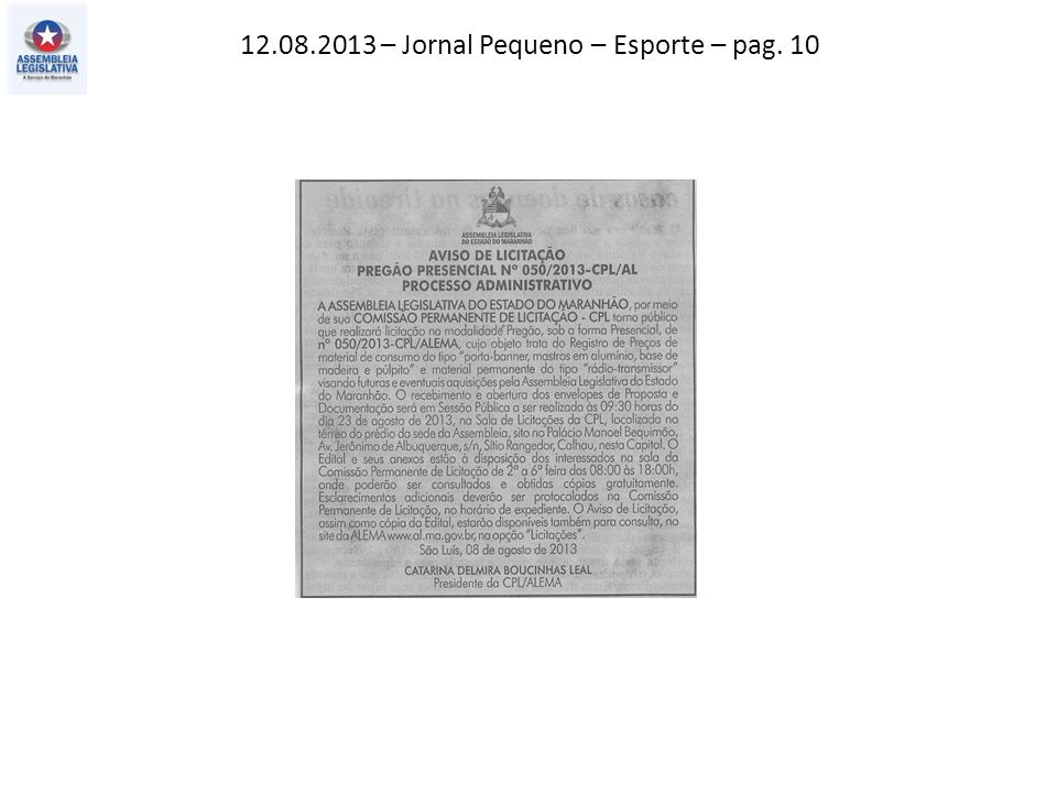 12.08.2013 – Jornal Pequeno – Esporte – pag. 10