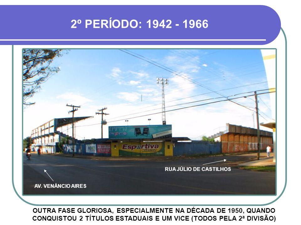 1º PERÍODO: 1913 - 1930 PERÍODO EM QUE O CLUBE FIRMOU-SE NO FUTEBOL DO RIO GRANDE DO SUL, COM VÁRIOS TÍTULOS CITADINOS E BOAS COLOCAÇÕES NOS ESTADUAIS RUA JÚLIO DE CASTILHOS AVENIDA VENÂNCIO AIRES 1921 1925 Campeão Citadino Tetra-Campeão Citadino AVENIDA VENÂNCIO AIRES