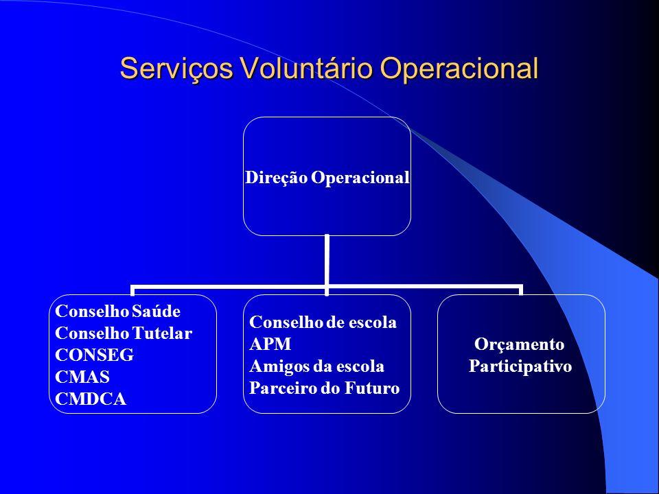 Serviços Voluntário Operacional Direção Operacional Conselho Saúde Conselho Tutelar CONSEG CMAS CMDCA Conselho de escola APM Amigos da escola Parceiro