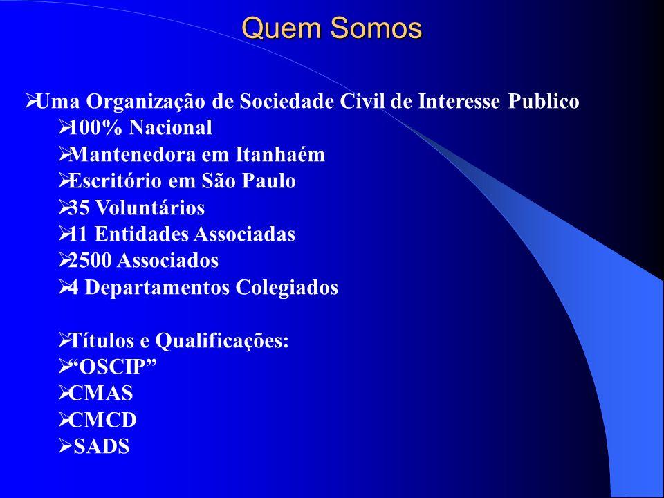 Quem Somos Uma Organização de Sociedade Civil de Interesse Publico 100% Nacional Mantenedora em Itanhaém Escritório em São Paulo 35 Voluntários 11 Ent