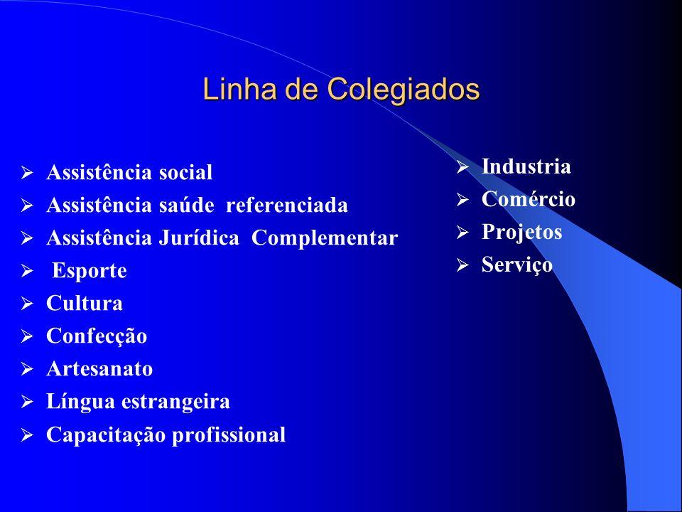 Linha de Colegiados Assistência social Assistência saúde referenciada Assistência Jurídica Complementar Esporte Cultura Confecção Artesanato Língua es