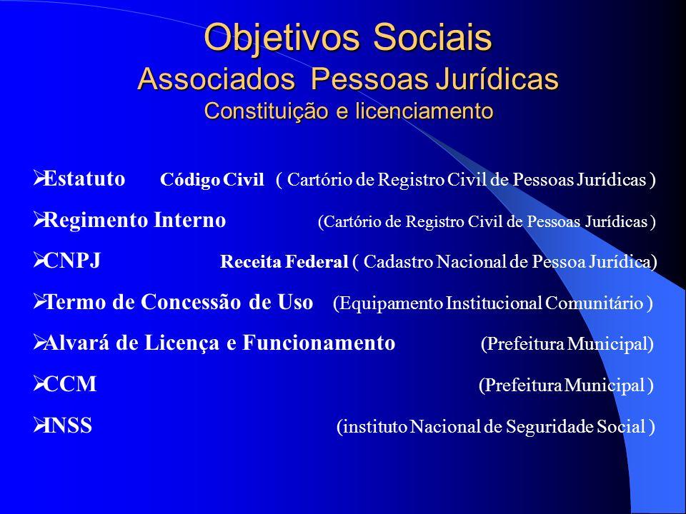 Objetivos Sociais Associados Pessoas Jurídicas Constituição e licenciamento Estatuto Código Civil ( Cartório de Registro Civil de Pessoas Jurídicas )