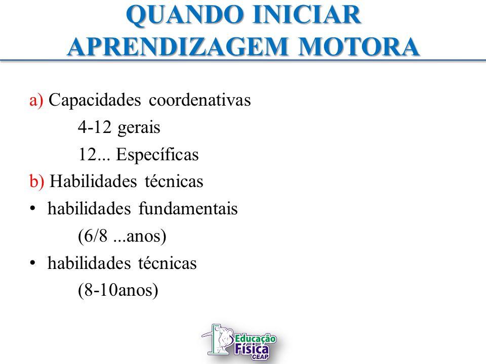 QUANDO INICIAR APRENDIZAGEM MOTORA a) Capacidades coordenativas 4-12 gerais 12... Específicas b) Habilidades técnicas habilidades fundamentais (6/8...