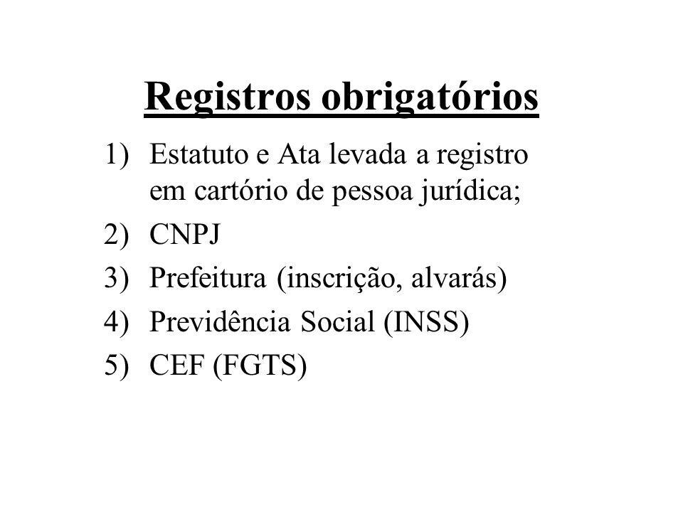 Registros obrigatórios 1)Estatuto e Ata levada a registro em cartório de pessoa jurídica; 2)CNPJ 3)Prefeitura (inscrição, alvarás) 4)Previdência Socia