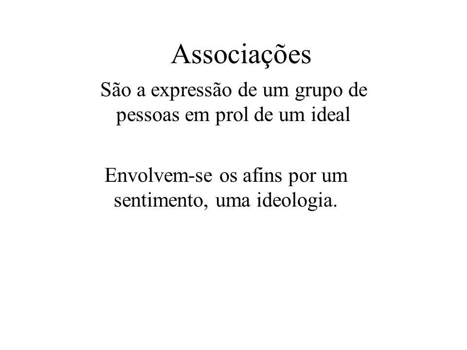 Associações São a expressão de um grupo de pessoas em prol de um ideal Envolvem-se os afins por um sentimento, uma ideologia.