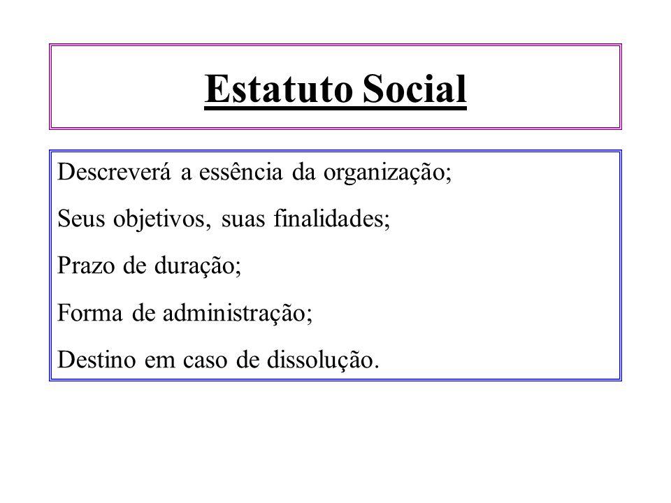 Estatuto Social Descreverá a essência da organização; Seus objetivos, suas finalidades; Prazo de duração; Forma de administração; Destino em caso de d