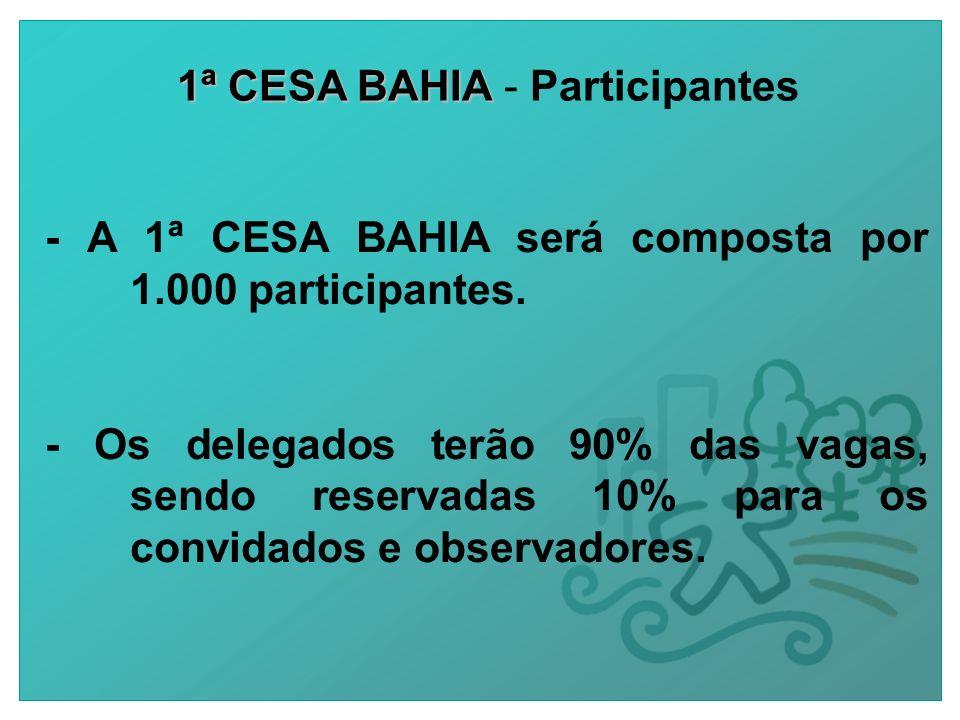 1ª CESA BAHIA 1ª CESA BAHIA - Participantes - A 1ª CESA BAHIA será composta por 1.000 participantes.
