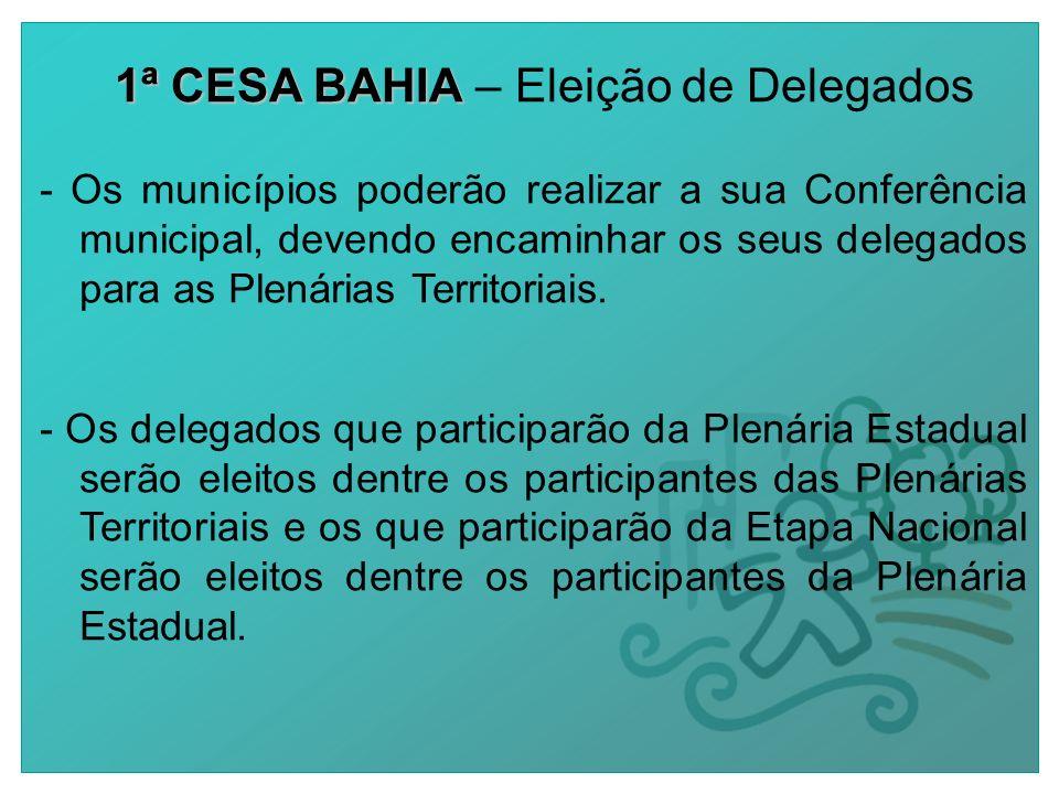 1ª CESA BAHIA 1ª CESA BAHIA – Eleição de Delegados - Os municípios poderão realizar a sua Conferência municipal, devendo encaminhar os seus delegados para as Plenárias Territoriais.