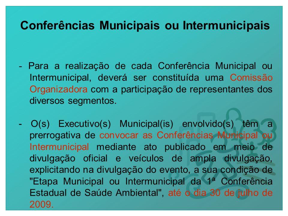 Conferências Municipais ou Intermunicipais - Para a realização de cada Conferência Municipal ou Intermunicipal, deverá ser constituída uma Comissão Organizadora com a participação de representantes dos diversos segmentos.