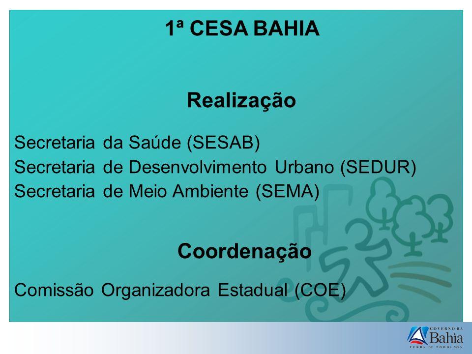 1ª CESA BAHIA Realização Secretaria da Saúde (SESAB) Secretaria de Desenvolvimento Urbano (SEDUR) Secretaria de Meio Ambiente (SEMA) Coordenação Comissão Organizadora Estadual (COE)