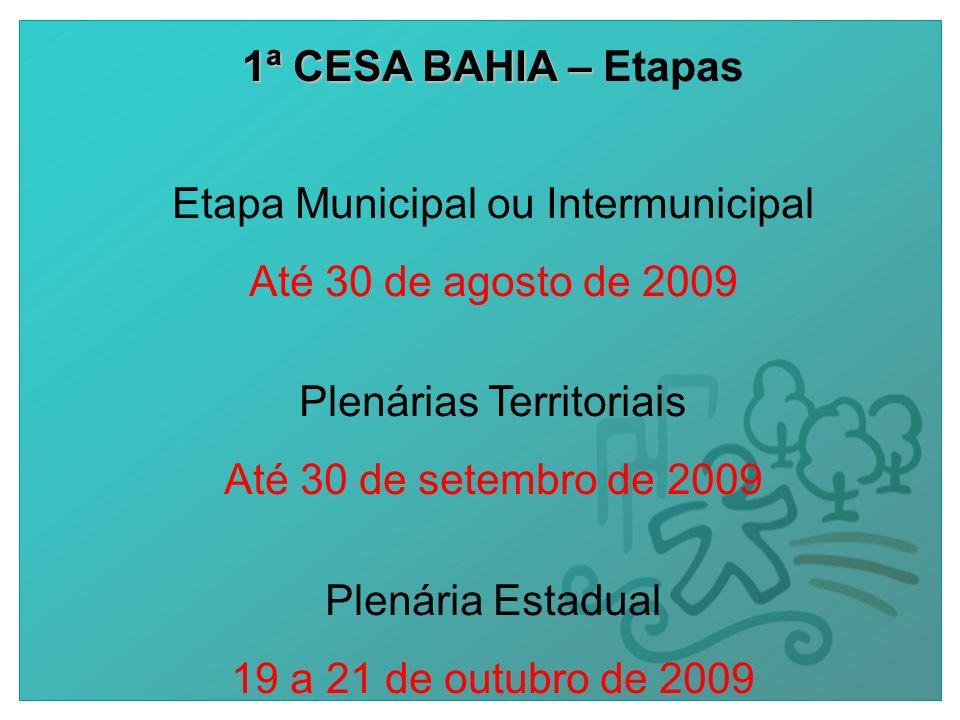 1ª CESA BAHIA – 1ª CESA BAHIA – Etapas Etapa Municipal ou Intermunicipal Até 30 de agosto de 2009 Plenárias Territoriais Até 30 de setembro de 2009 Plenária Estadual 19 a 21 de outubro de 2009