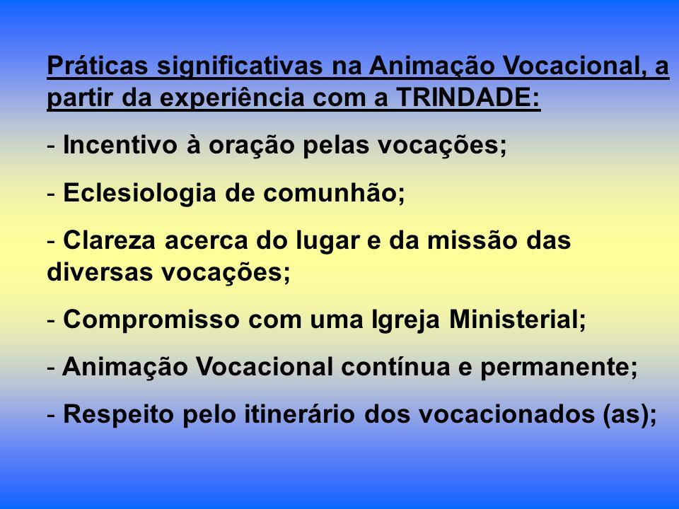 Práticas significativas na Animação Vocacional, a partir da experiência com a TRINDADE: - Incentivo à oração pelas vocações; - Eclesiologia de comunhã