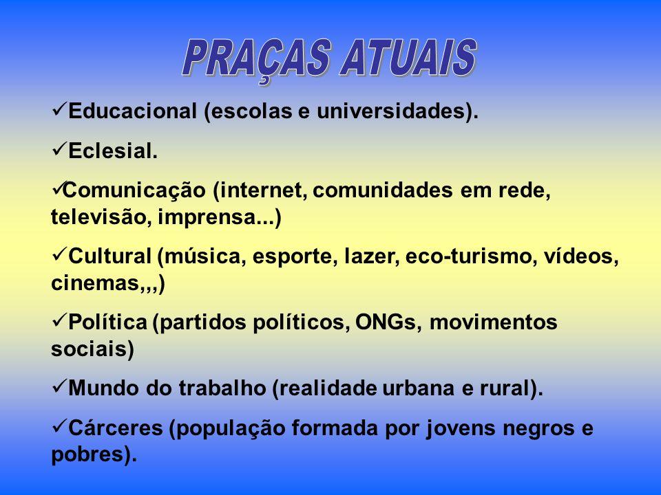 Educacional (escolas e universidades). Eclesial. Comunicação (internet, comunidades em rede, televisão, imprensa...) Cultural (música, esporte, lazer,