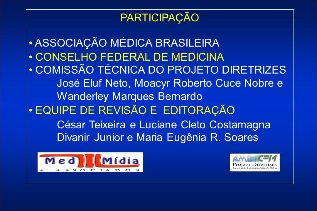 PARTICIPAÇÃO ASSOCIAÇÃO MÉDICA BRASILEIRA CONSELHO FEDERAL DE MEDICINA COMISSÃO TÉCNICA DO PROJETO DIRETRIZES José Eluf Neto, Moacyr Roberto Cuce Nobre e Wanderley Marques Bernardo EQUIPE DE REVISÃO E EDITORAÇÃO César Teixeira e Luciane Cleto Costamagna Divanir Junior e Maria Eugênia R.