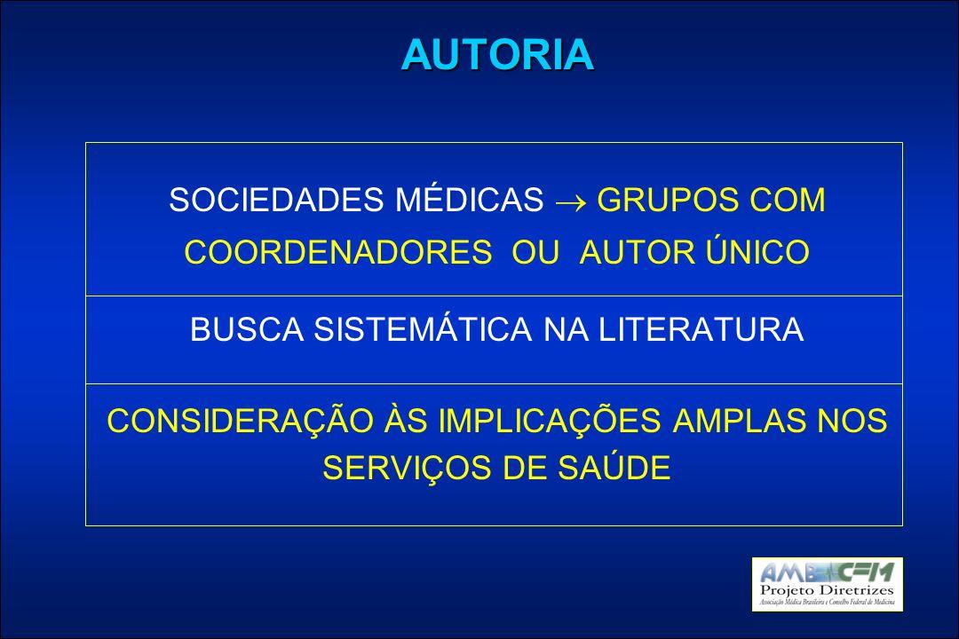 AUTORIA SOCIEDADES MÉDICAS GRUPOS COM COORDENADORES OU AUTOR ÚNICO BUSCA SISTEMÁTICA NA LITERATURA CONSIDERAÇÃO ÀS IMPLICAÇÕES AMPLAS NOS SERVIÇOS DE SAÚDE