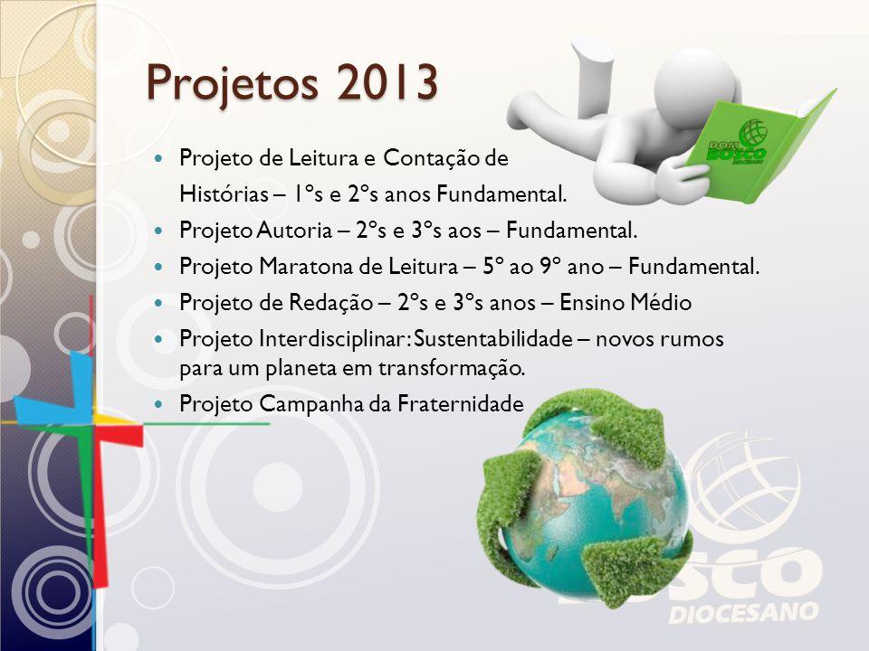 Projetos 2013 Projeto de Leitura e Contação de Histórias – 1ºs e 2ºs anos Fundamental. Projeto Autoria – 2ºs e 3ºs aos – Fundamental. Projeto Maratona