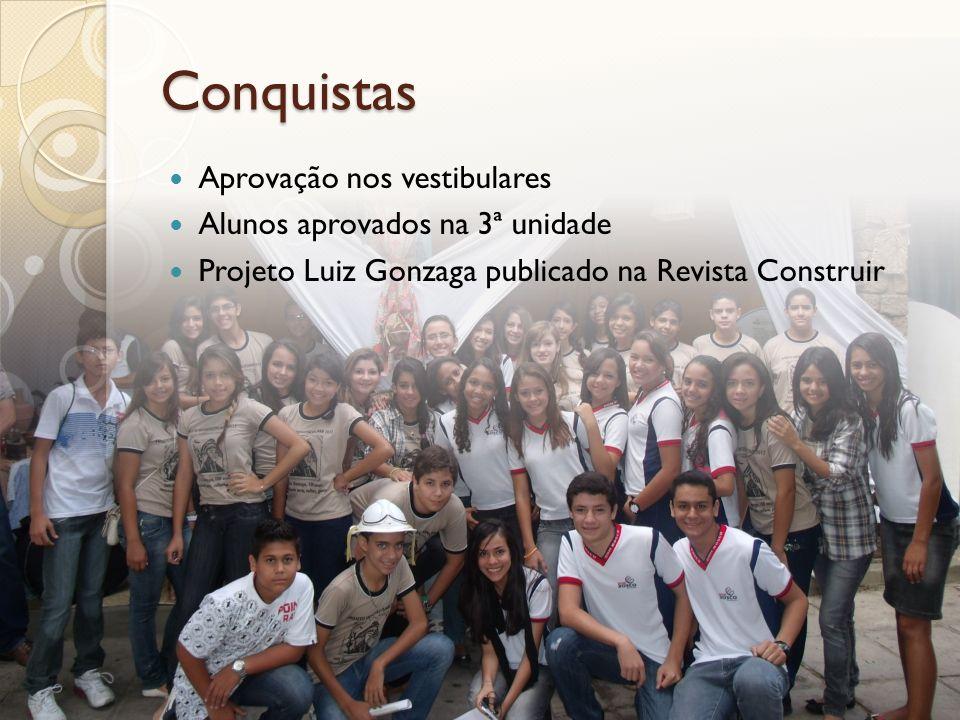 Conquistas Aprovação nos vestibulares Alunos aprovados na 3ª unidade Projeto Luiz Gonzaga publicado na Revista Construir
