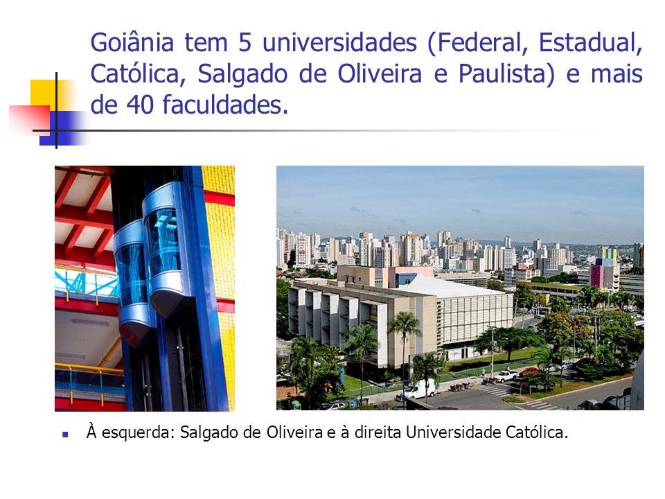 Goiânia tem 5 universidades (Federal, Estadual, Católica, Salgado de Oliveira e Paulista) e mais de 40 faculdades. À esquerda: Salgado de Oliveira e à