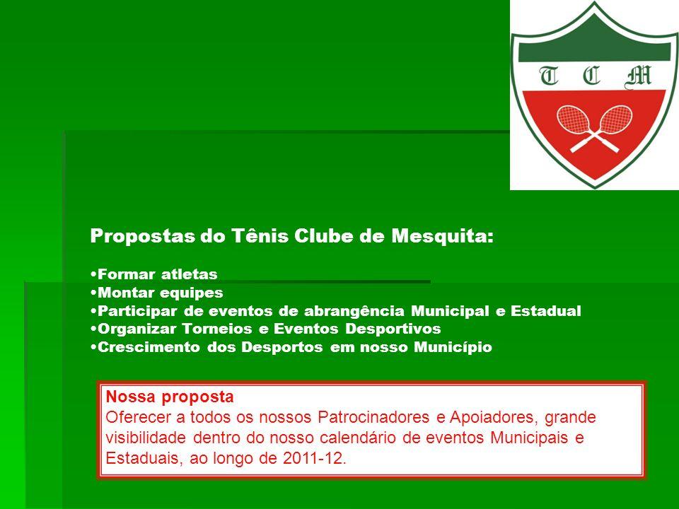Propostas do Tênis Clube de Mesquita: Formar atletas Montar equipes Participar de eventos de abrangência Municipal e Estadual Organizar Torneios e Eve