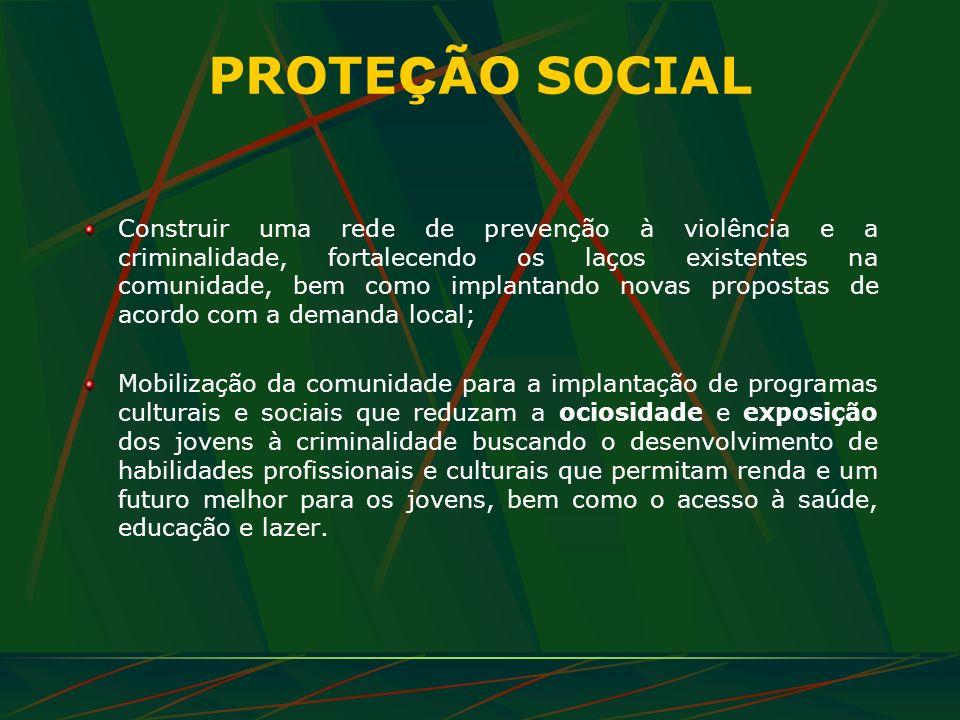 PROTE Ç ÃO SOCIAL Construir uma rede de prevenção à violência e a criminalidade, fortalecendo os laços existentes na comunidade, bem como implantando