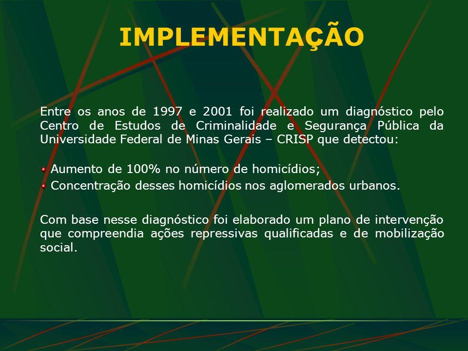 IMPLEMENTA Ç ÃO Entre os anos de 1997 e 2001 foi realizado um diagnóstico pelo Centro de Estudos de Criminalidade e Segurança Pública da Universidade