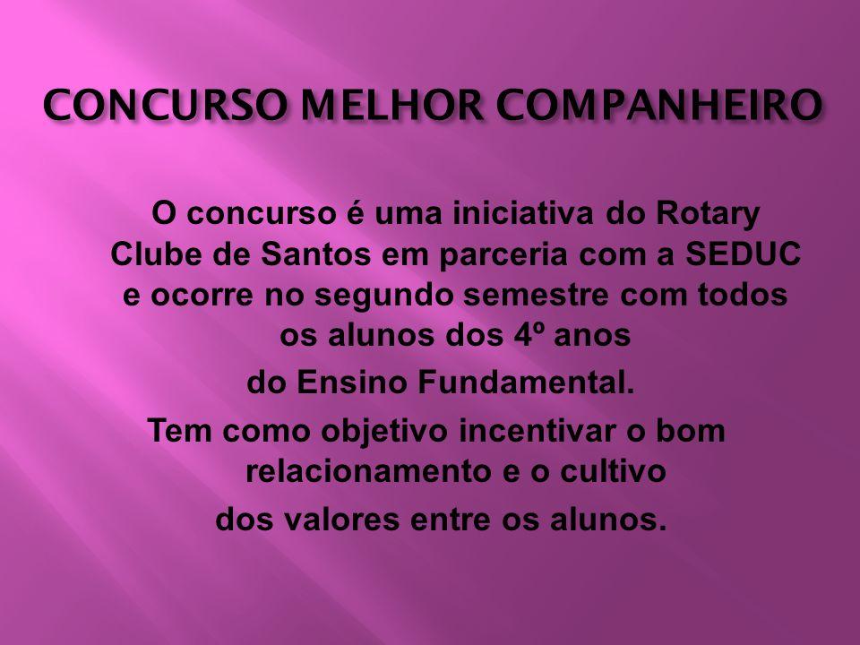 CONCURSO MELHOR COMPANHEIRO O concurso é uma iniciativa do Rotary Clube de Santos em parceria com a SEDUC e ocorre no segundo semestre com todos os al