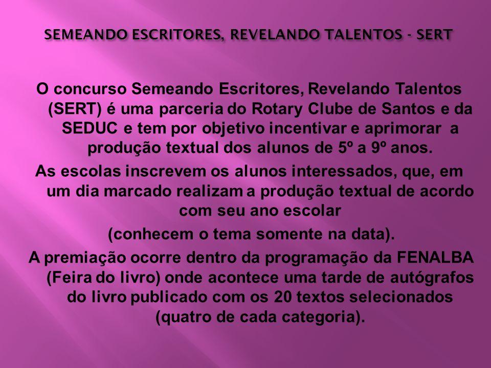 SEMEANDO ESCRITORES, REVELANDO TALENTOS - SERT SEMEANDO ESCRITORES, REVELANDO TALENTOS - SERT O concurso Semeando Escritores, Revelando Talentos (SERT