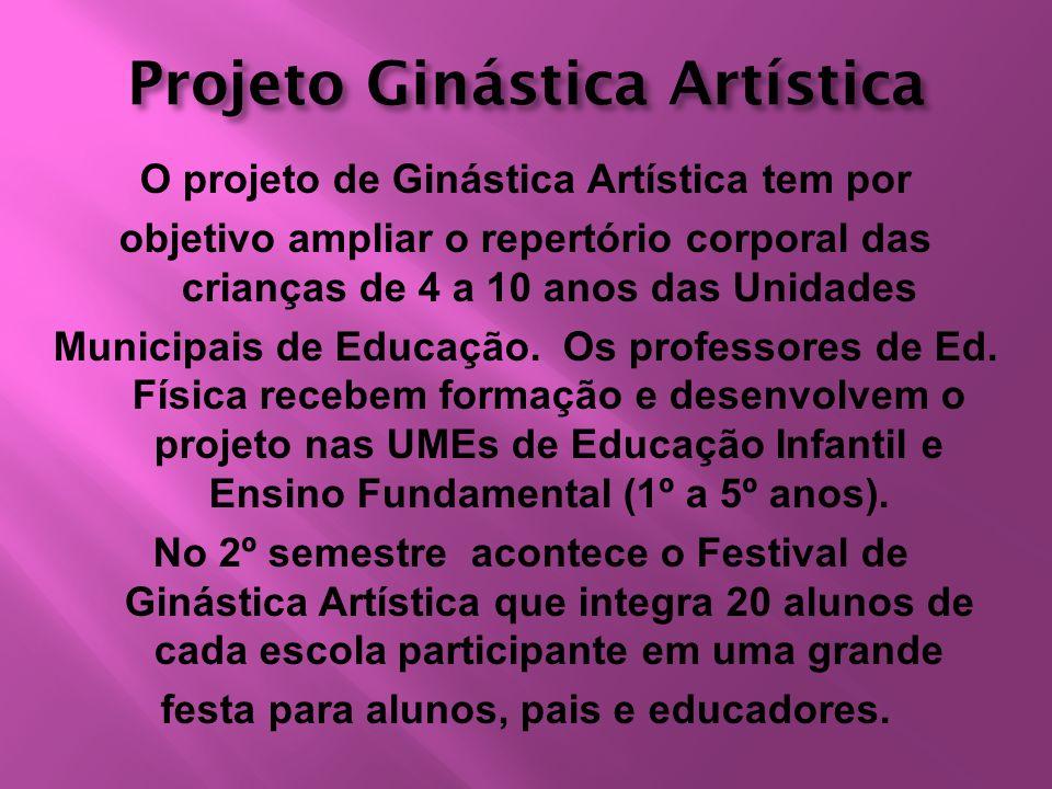 Projeto Ginástica Artística O projeto de Ginástica Artística tem por objetivo ampliar o repertório corporal das crianças de 4 a 10 anos das Unidades M