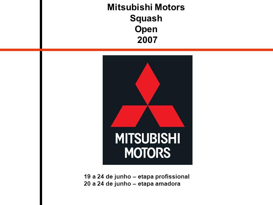 Mitsubishi Motors Squash Open 2007 19 a 24 de junho – etapa profissional 20 a 24 de junho – etapa amadora