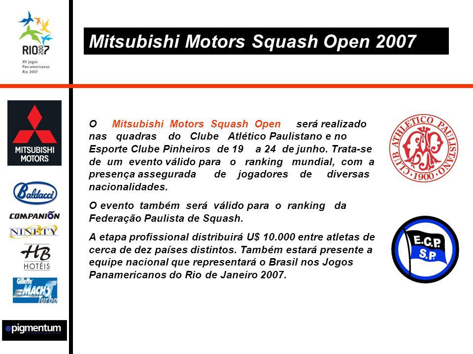O Mitsubishi Motors Squash Open será realizado nas quadras do Clube Atlético Paulistano e no Esporte Clube Pinheiros de 19 a 24 de junho.