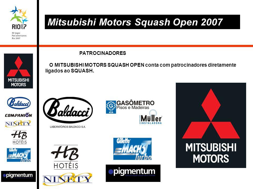 PATROCINADORES O MITSUBISHI MOTORS SQUASH OPEN conta com patrocinadores diretamente ligados ao SQUASH.