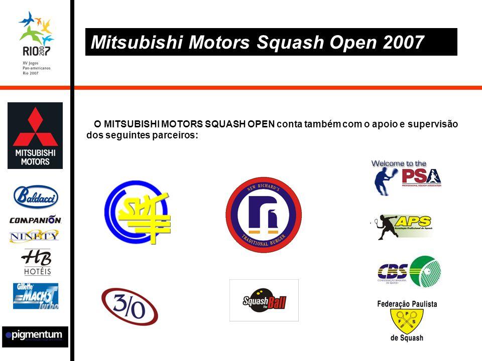 O MITSUBISHI MOTORS SQUASH OPEN conta também com o apoio e supervisão dos seguintes parceiros: