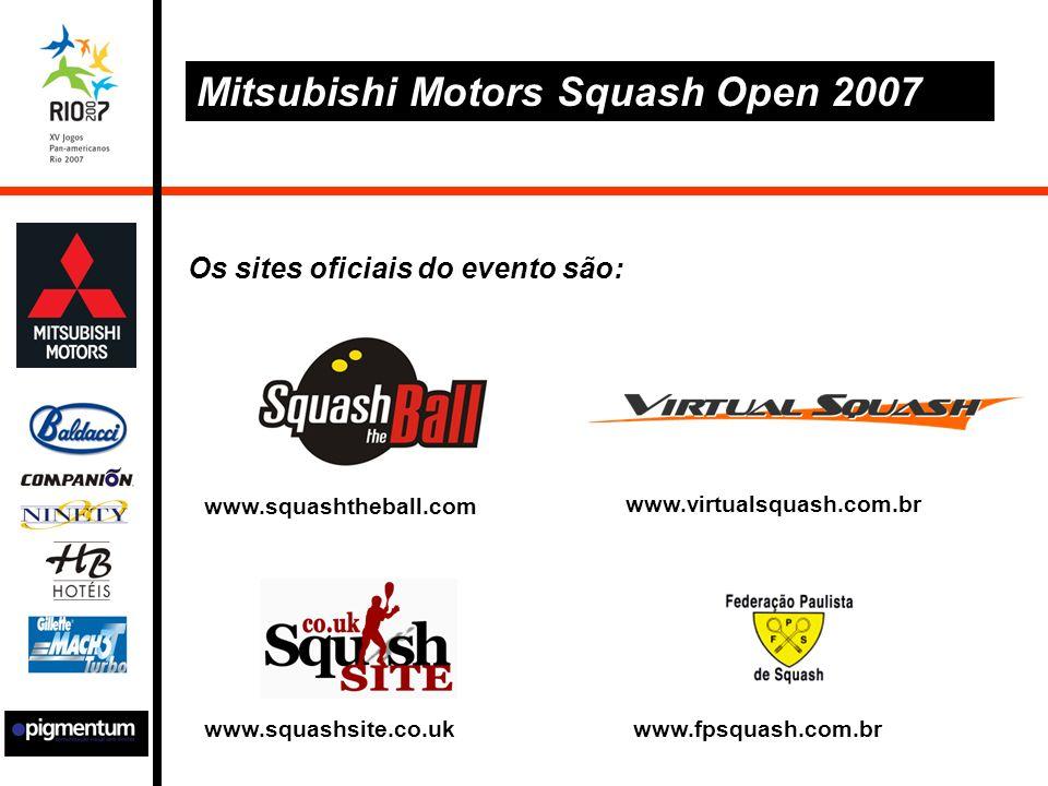 Mitsubishi Motors Squash Open 2007 Os sites oficiais do evento são: www.squashtheball.com www.fpsquash.com.br www.virtualsquash.com.br www.squashsite.co.uk