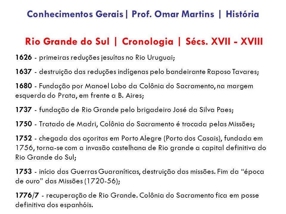 Rio Grande do Sul | Cronologia | Sécs. XVII - XVIII 1626 - primeiras reduções jesuítas no Rio Uruguai; 1637 - destruição das reduções indígenas pelo b