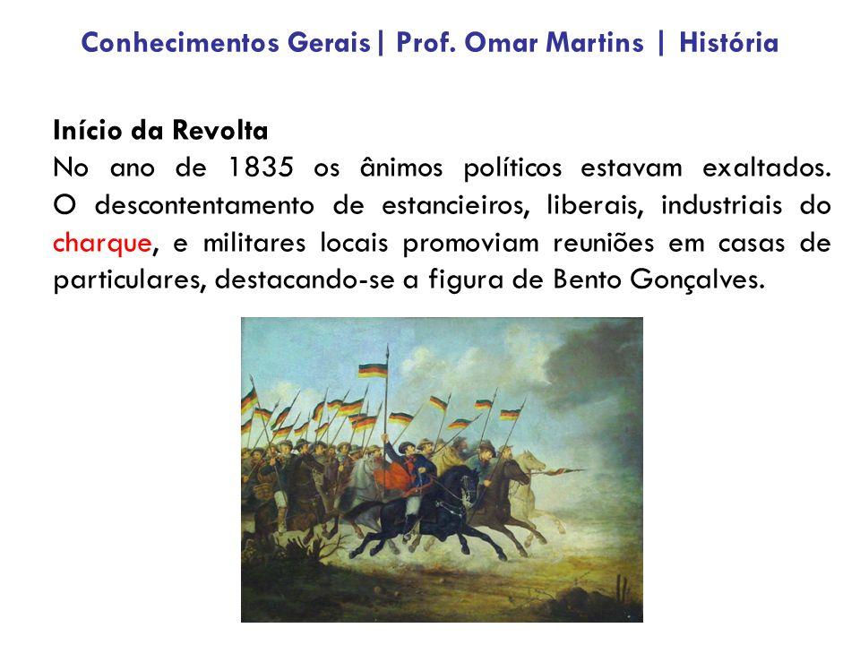 Início da Revolta No ano de 1835 os ânimos políticos estavam exaltados. O descontentamento de estancieiros, liberais, industriais do charque, e milita